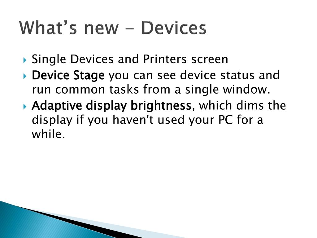 What's new - Devices