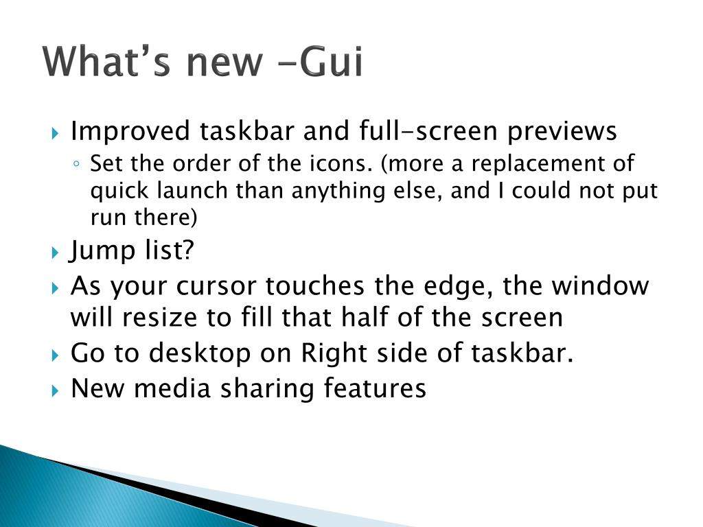 What's new -Gui