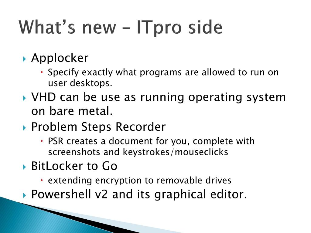 What's new – ITpro side