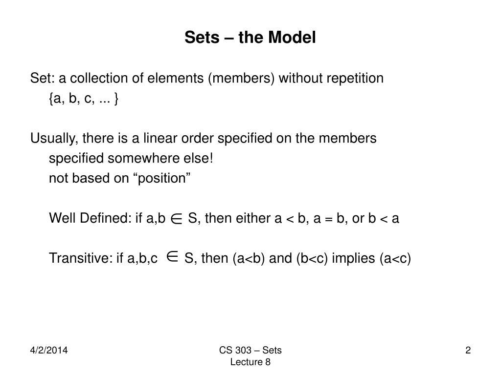 Sets – the Model