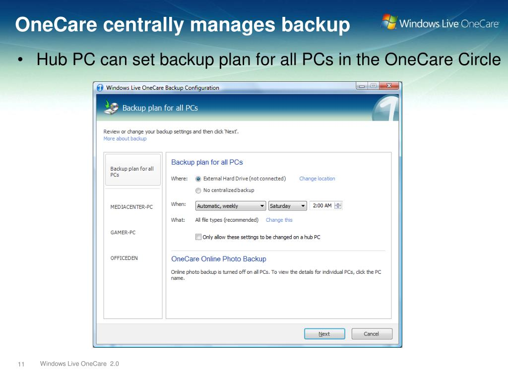 OneCare centrally manages backup