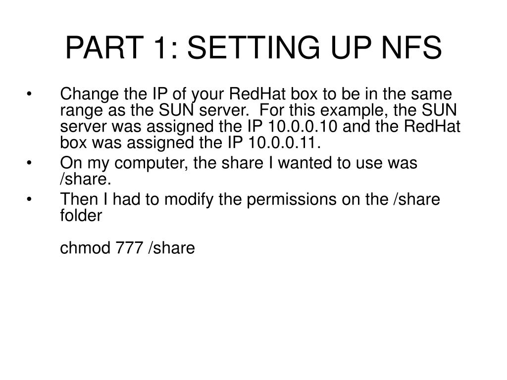 PART 1: SETTING UP NFS