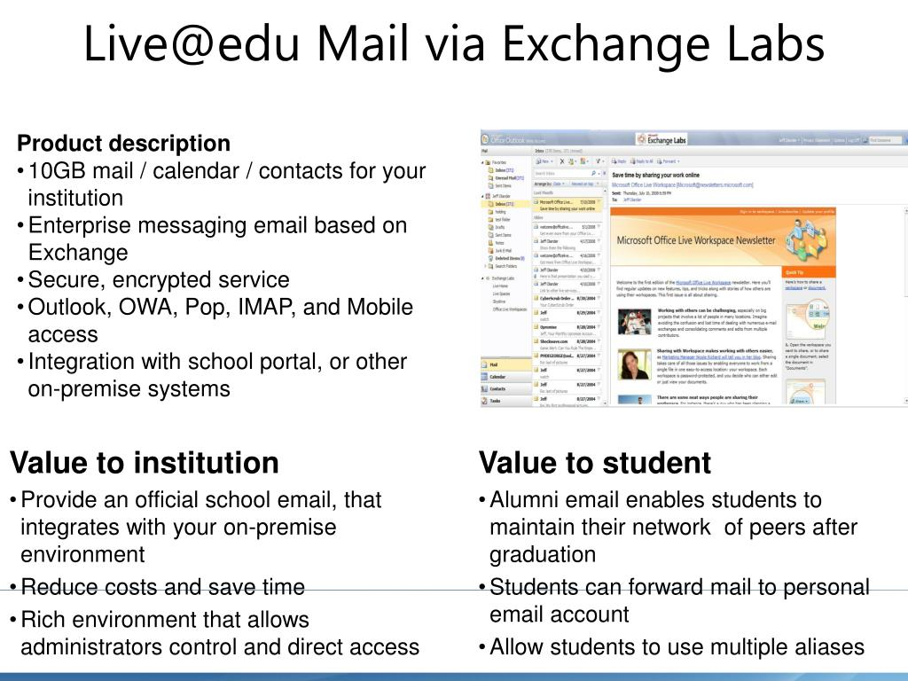 Live@edu Mail via Exchange Labs