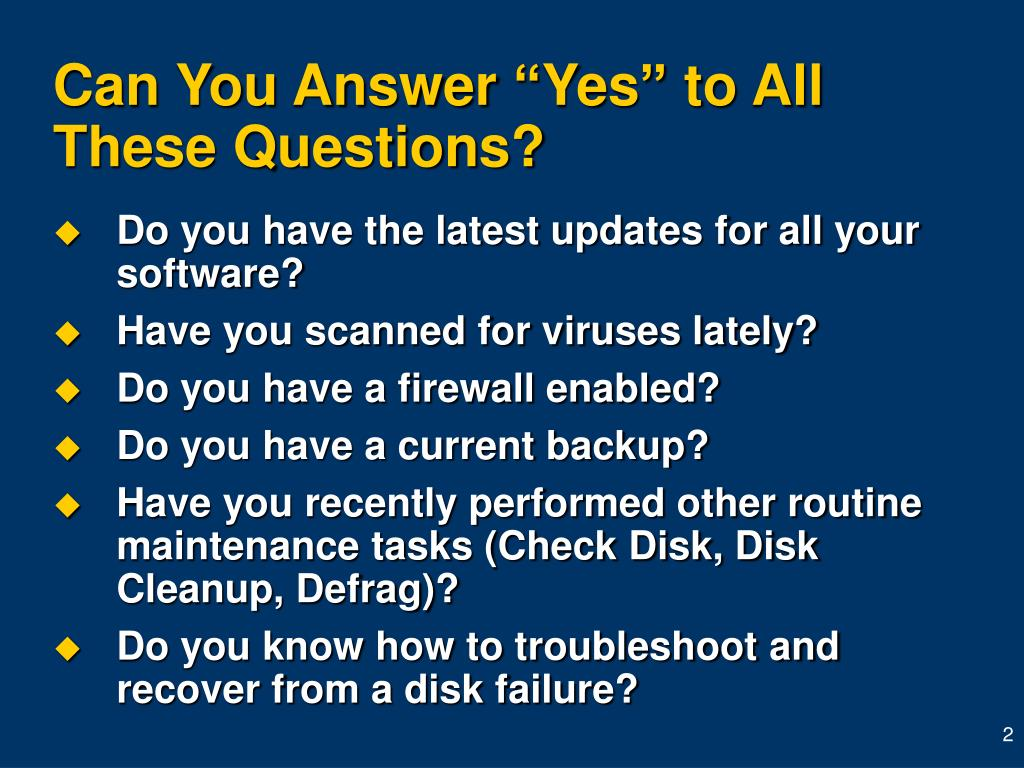 "Can You Answer ""Yes"" to All  These Questions?"