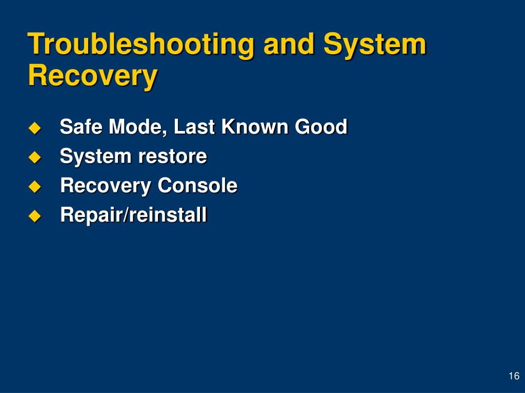 Troubleshooting and System Recovery