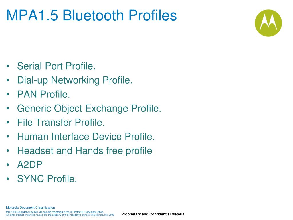 MPA1.5 Bluetooth Profiles