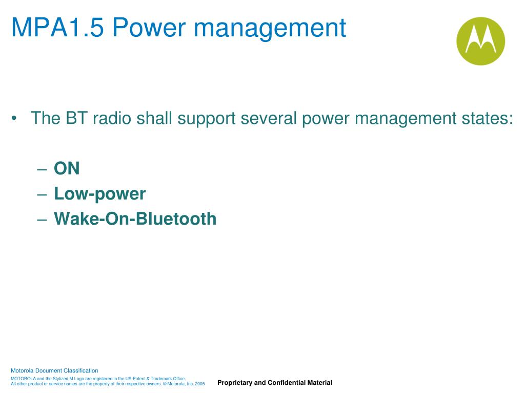 MPA1.5 Power management