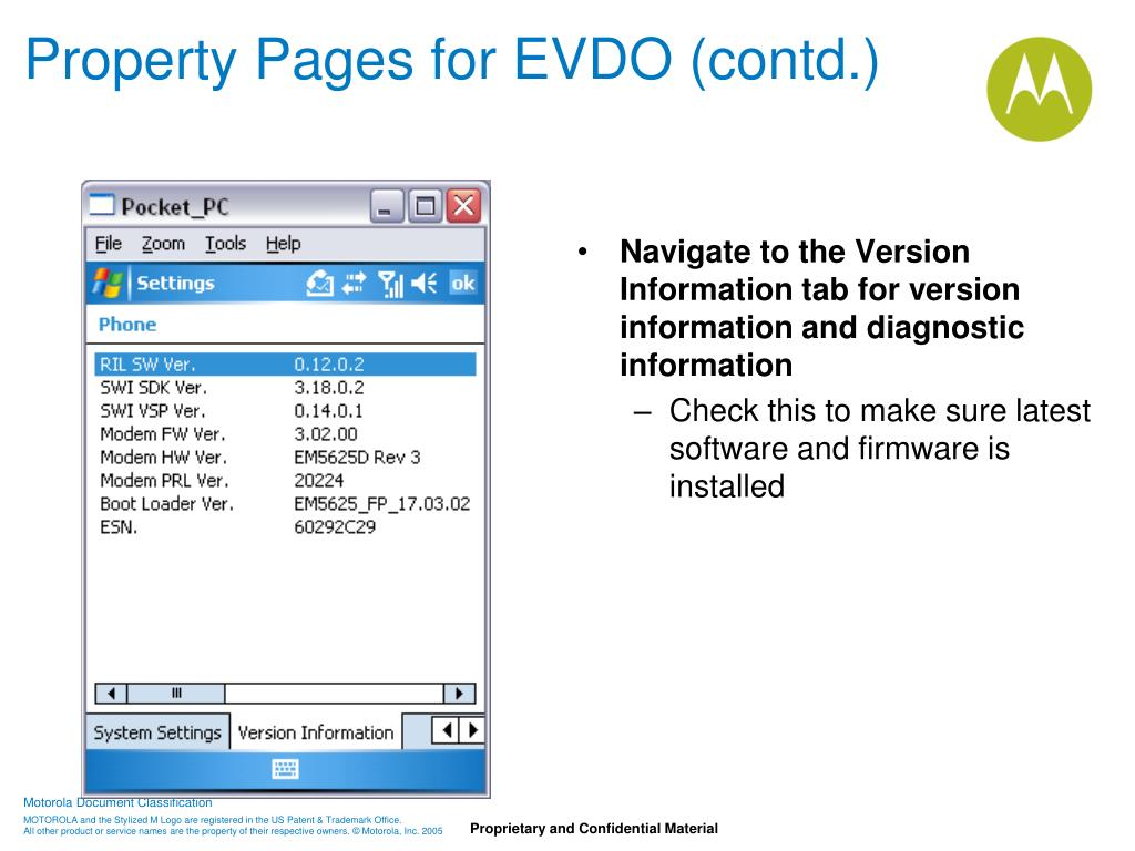 Property Pages for EVDO (contd.)
