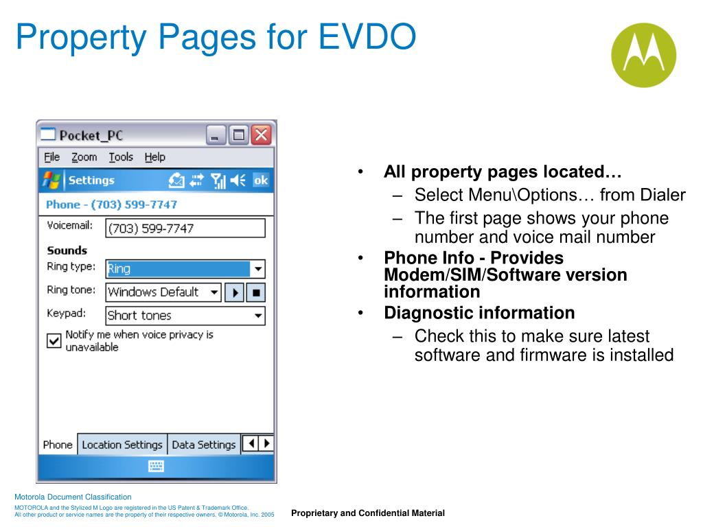 Property Pages for EVDO
