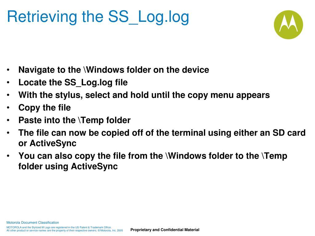 Retrieving the SS_Log.log