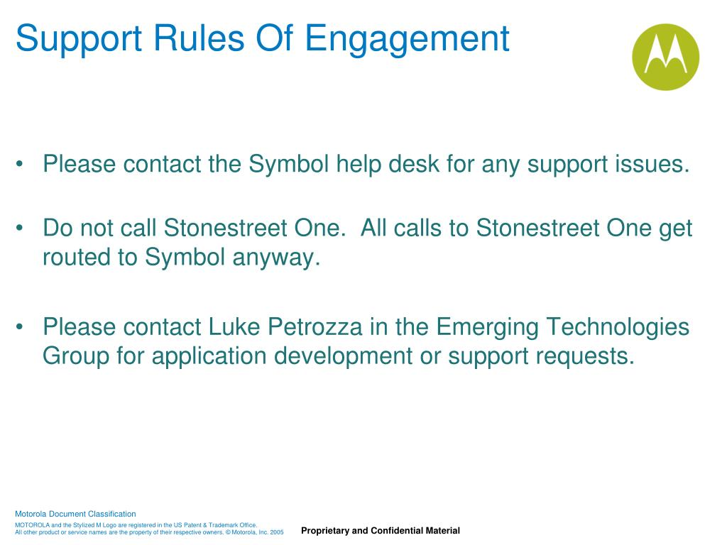 Support Rules Of Engagement