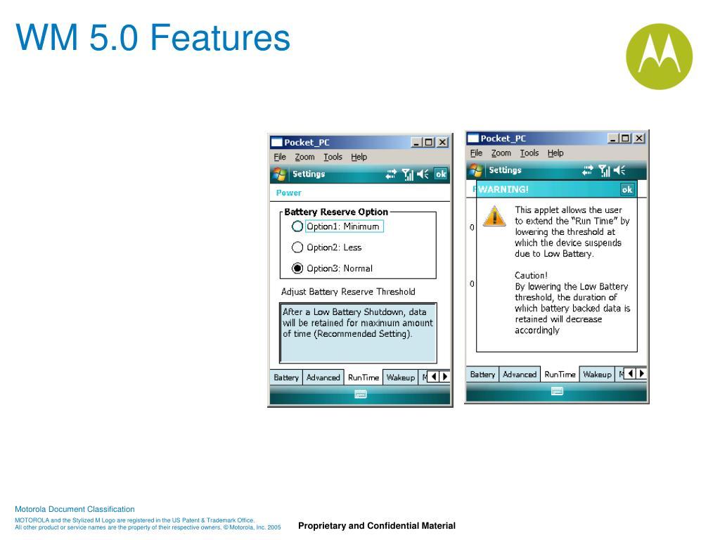 WM 5.0 Features