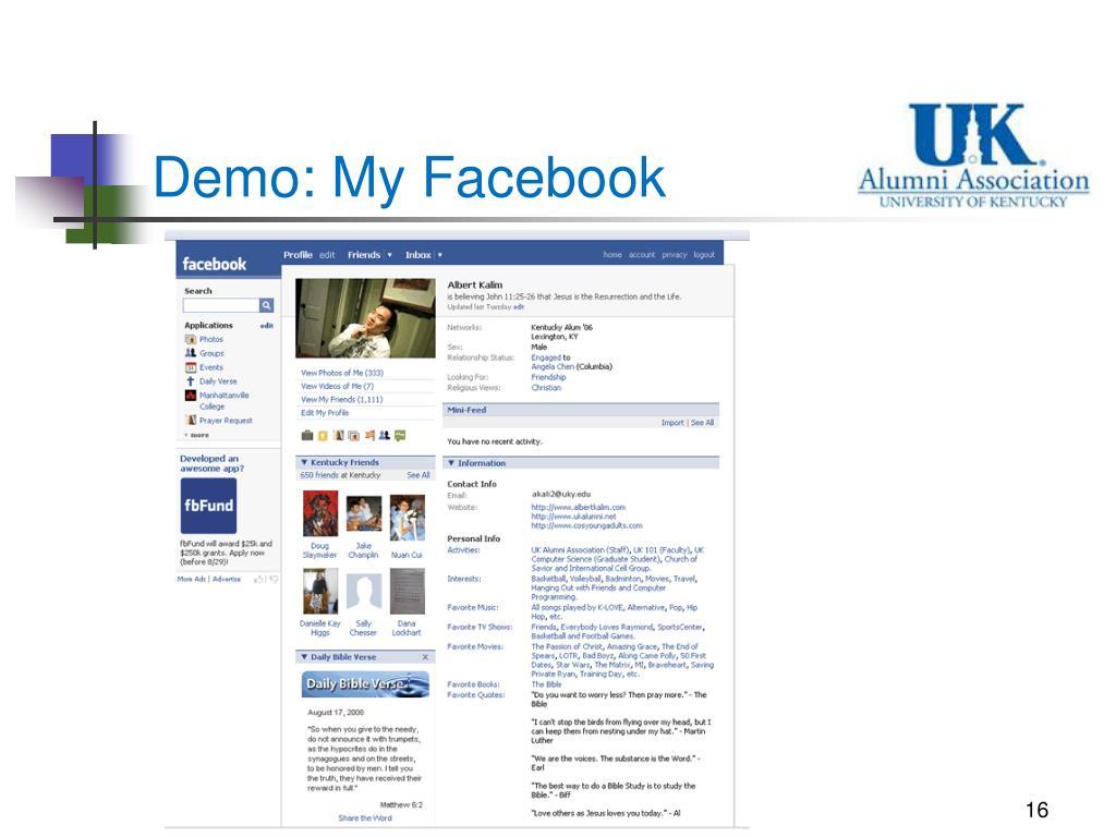 Demo: My Facebook