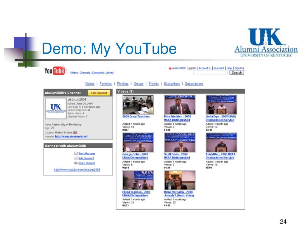 Demo: My YouTube