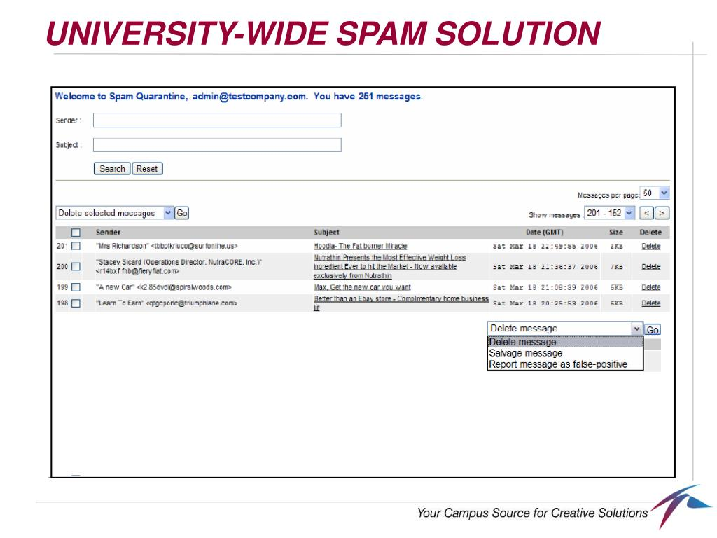UNIVERSITY-WIDE SPAM SOLUTION