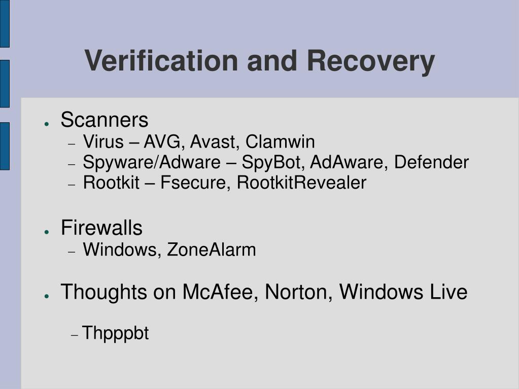 Verification and Recovery