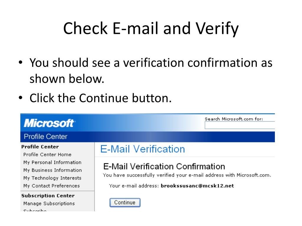 Check E-mail and Verify
