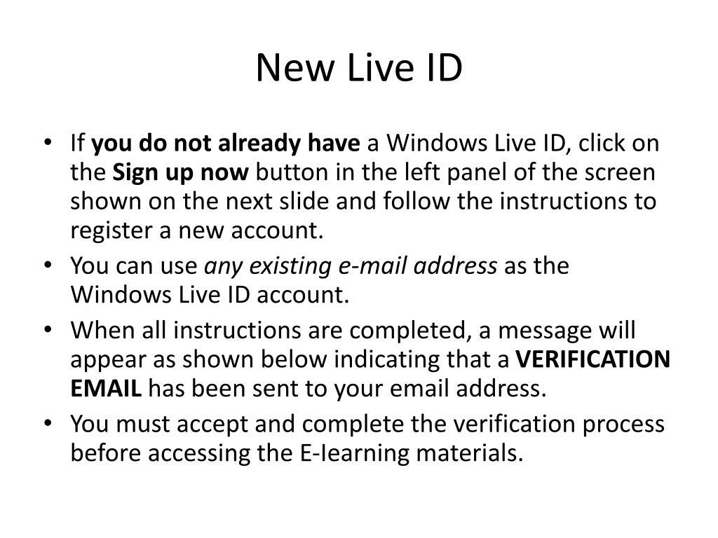 New Live ID