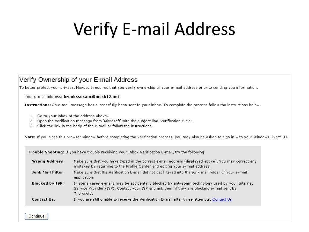 Verify E-mail Address