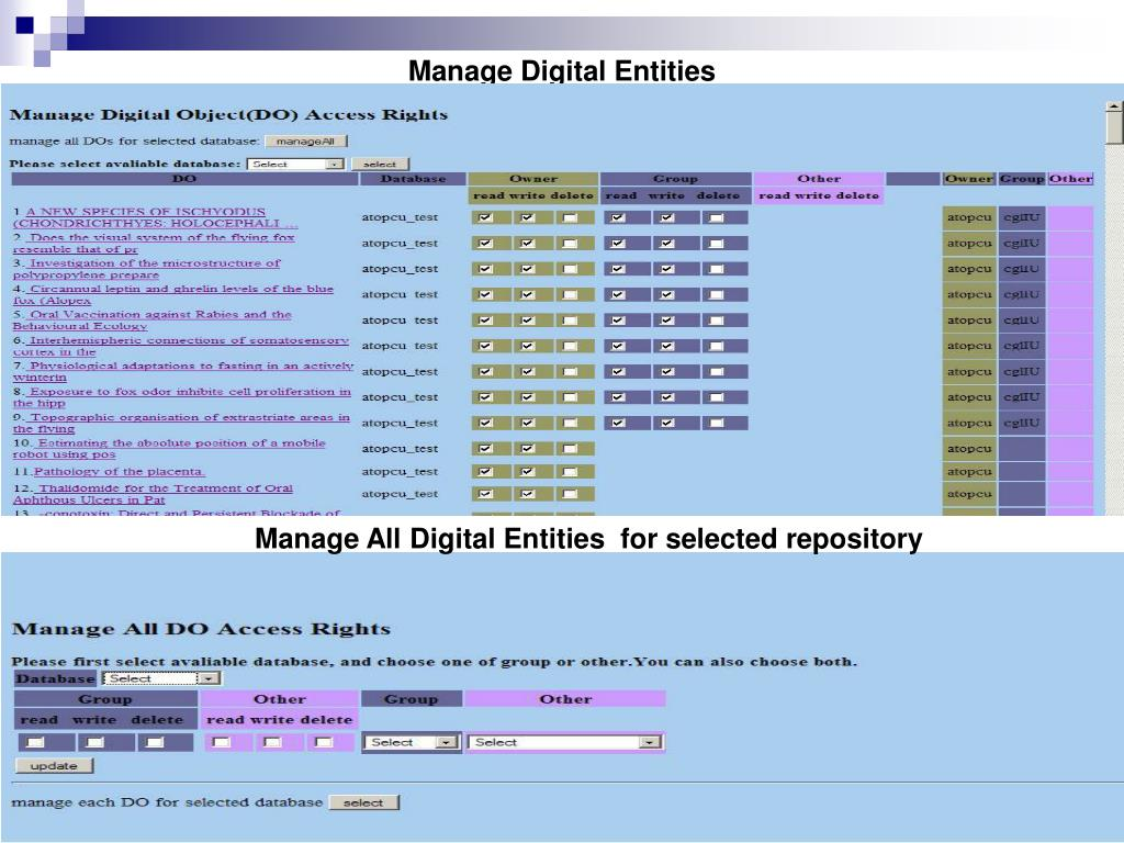 Manage Digital Entities