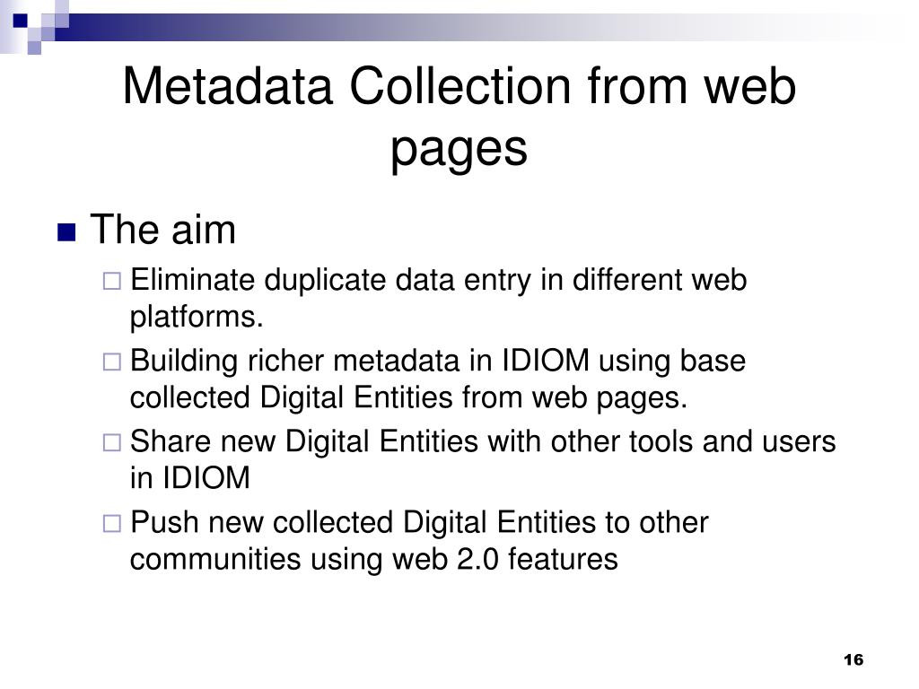 Metadata Collection from web pages