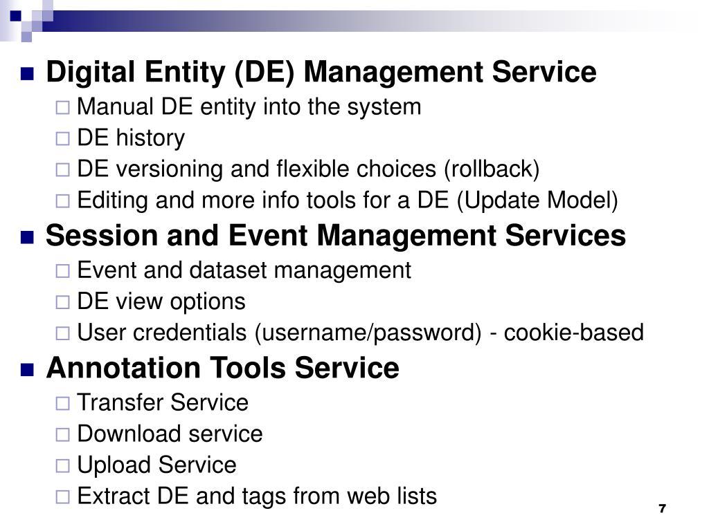 Digital Entity (DE) Management Service