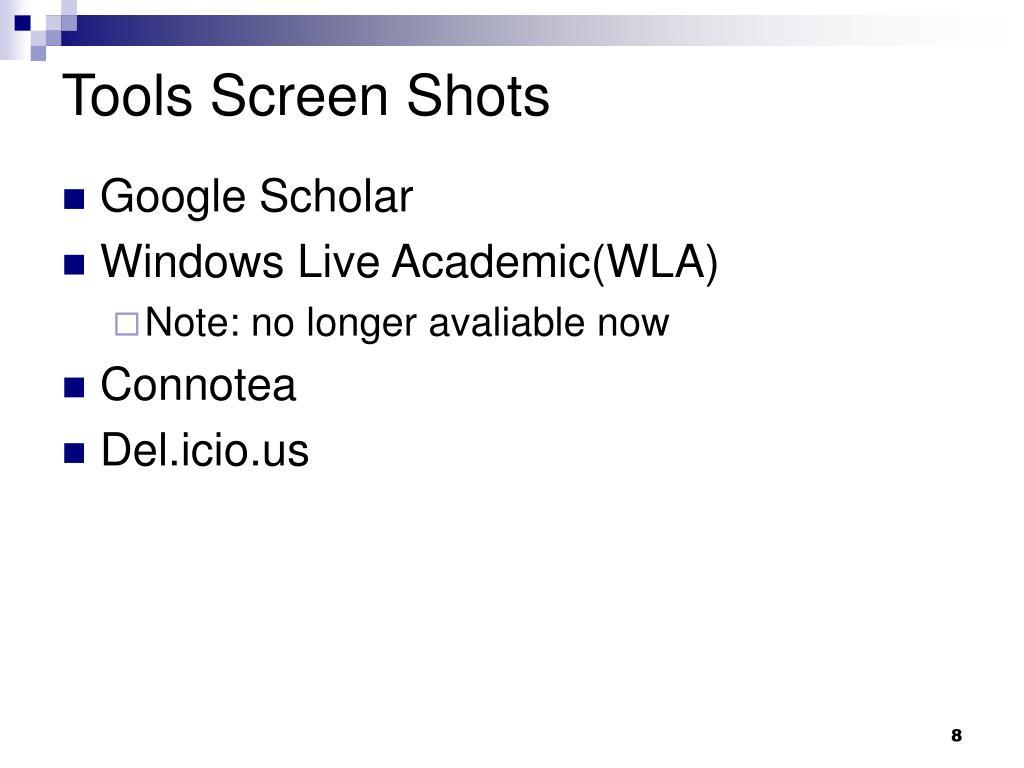 Tools Screen Shots