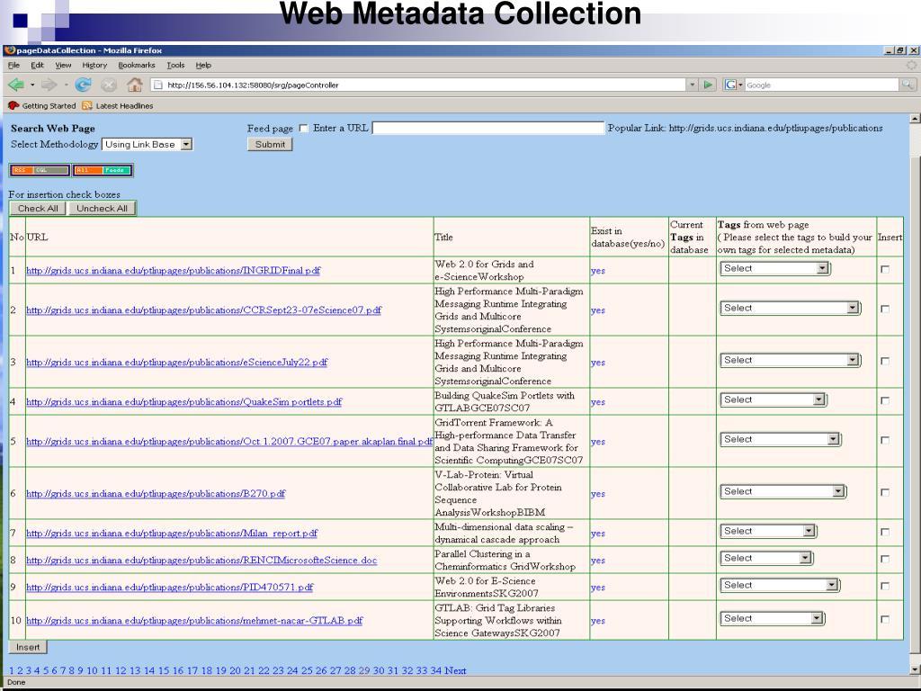 Web Metadata Collection