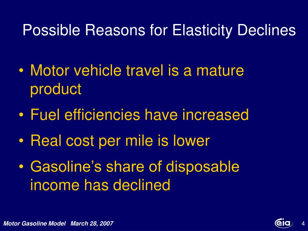 Possible Reasons for Elasticity Declines