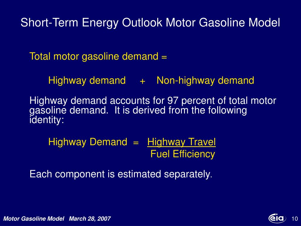 Short-Term Energy Outlook Motor Gasoline Model