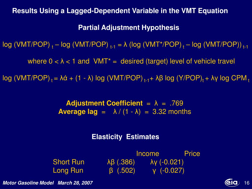 Results Using a Lagged-Dependent Variable in the VMT Equation