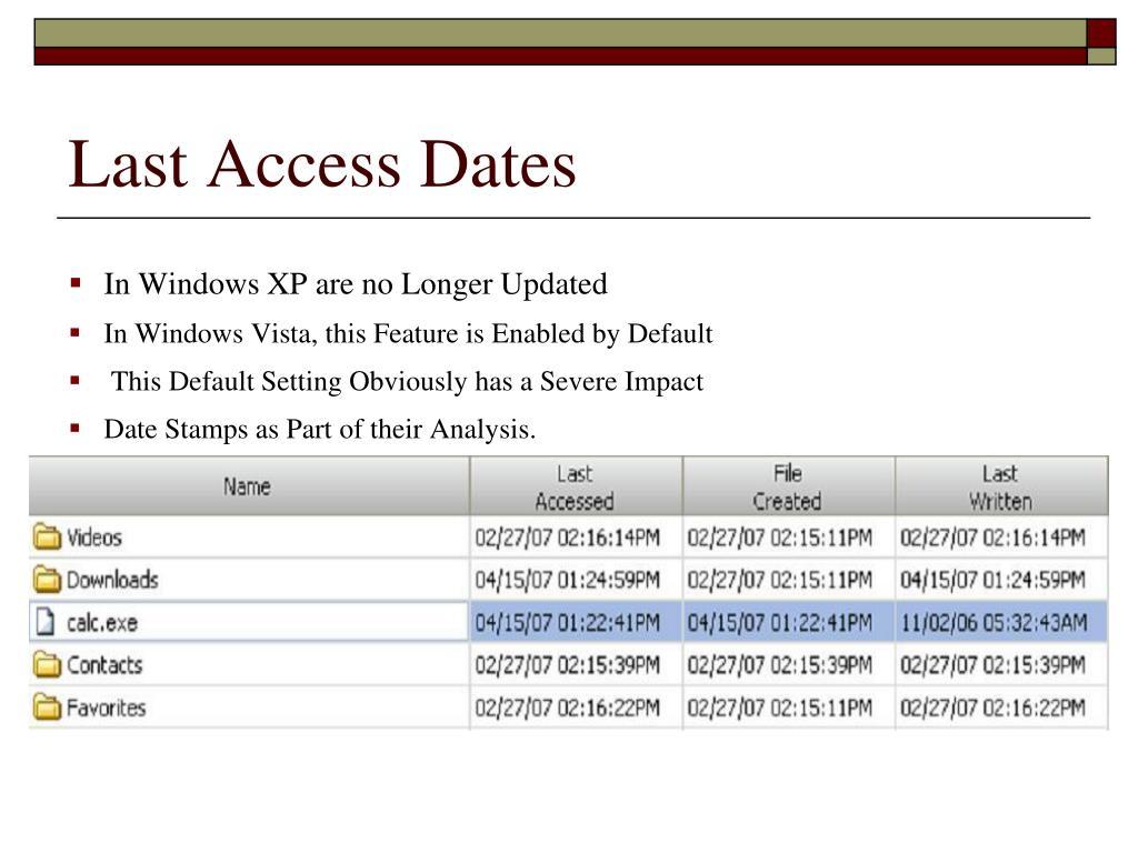 Last Access Dates