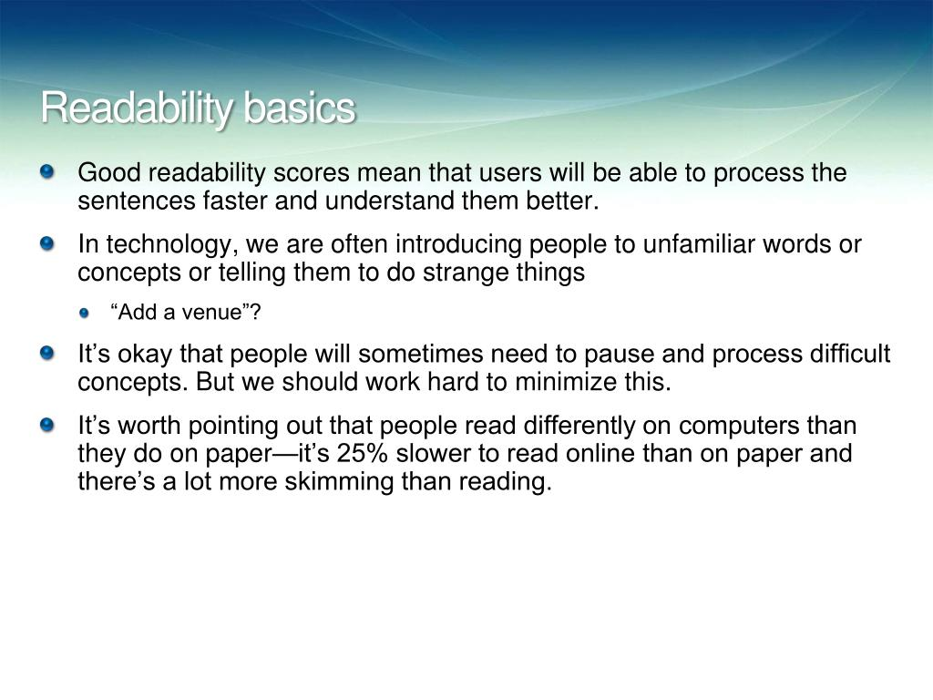 Readability basics