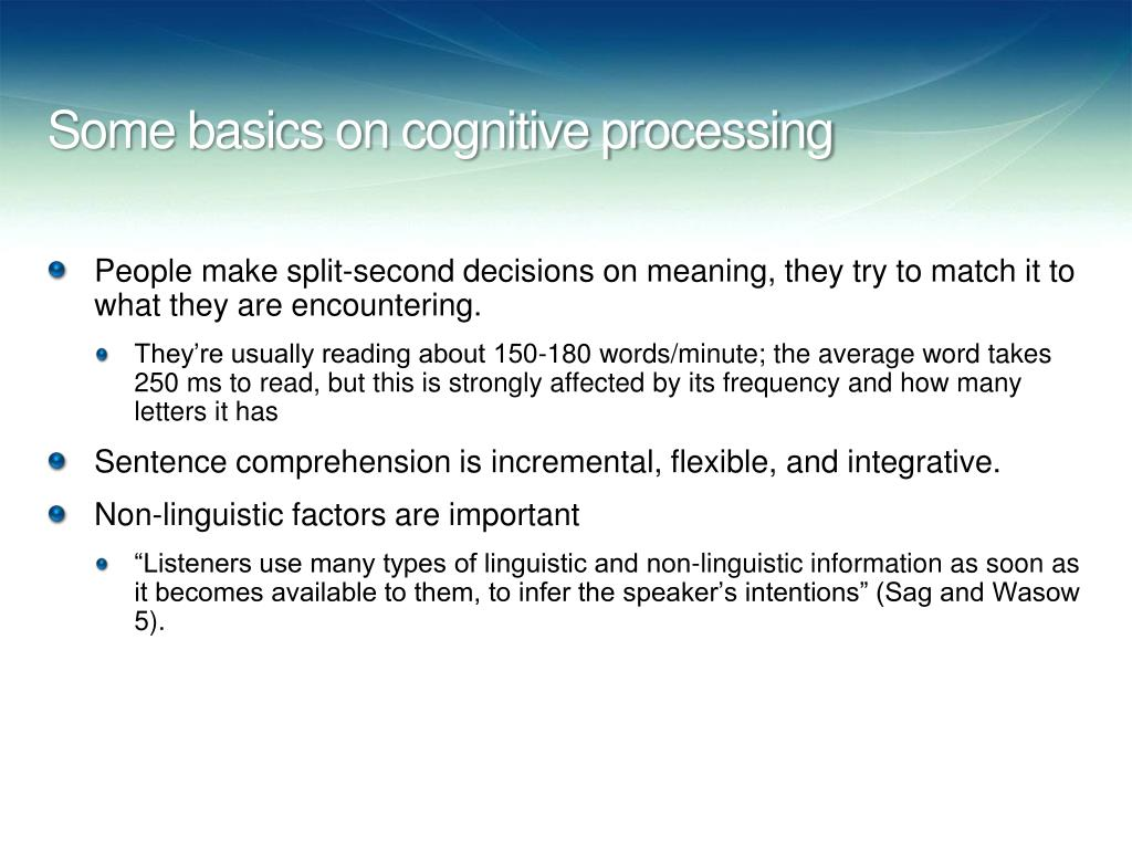 Some basics on cognitive processing