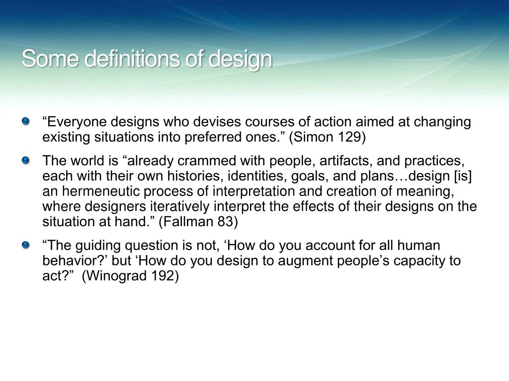 Some definitions of design