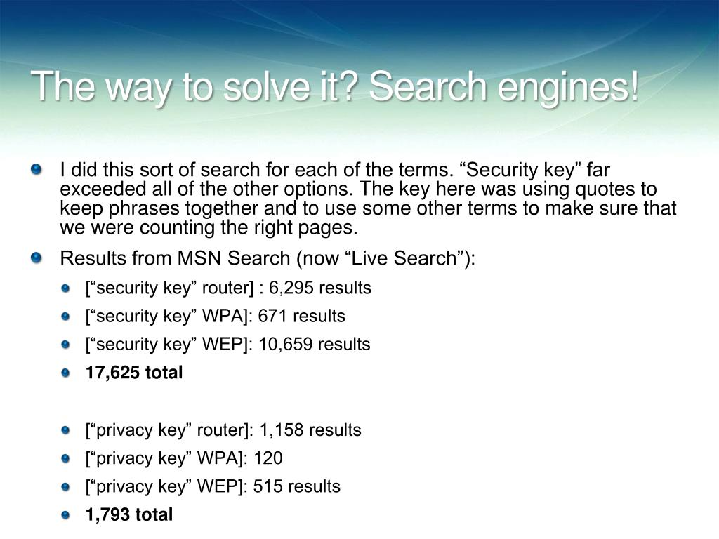 The way to solve it? Search engines!