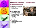 american ideals vs limitations of actual institutions
