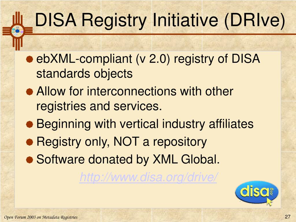 DISA Registry Initiative (DRIve)