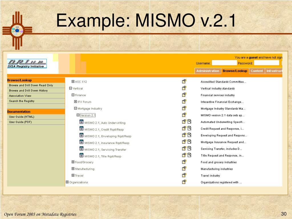 Example: MISMO v.2.1