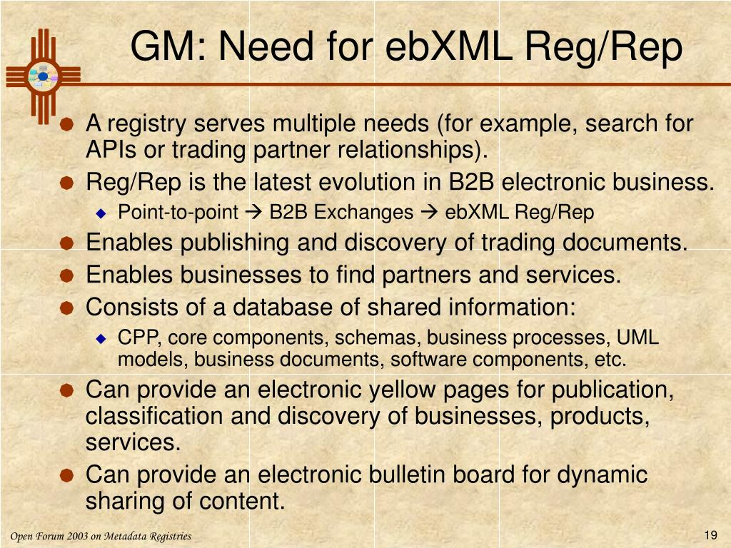 GM: Need for ebXML Reg/Rep