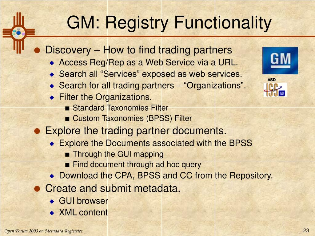 GM: Registry Functionality
