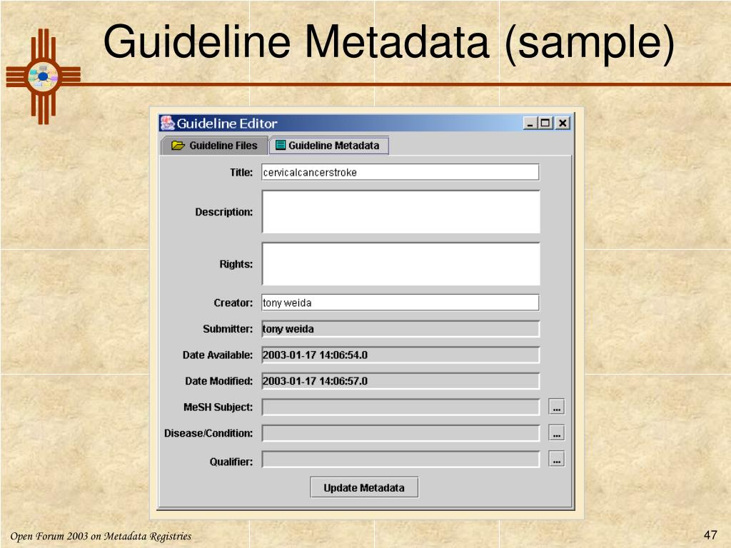 Guideline Metadata (sample)