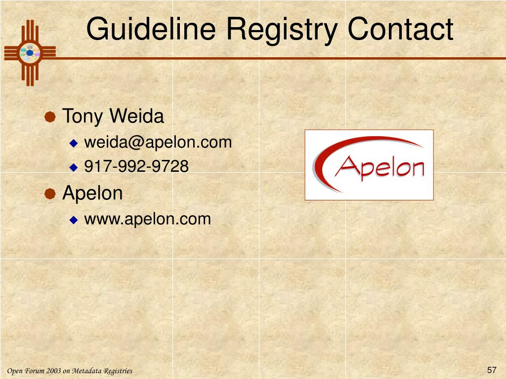 Guideline Registry Contact