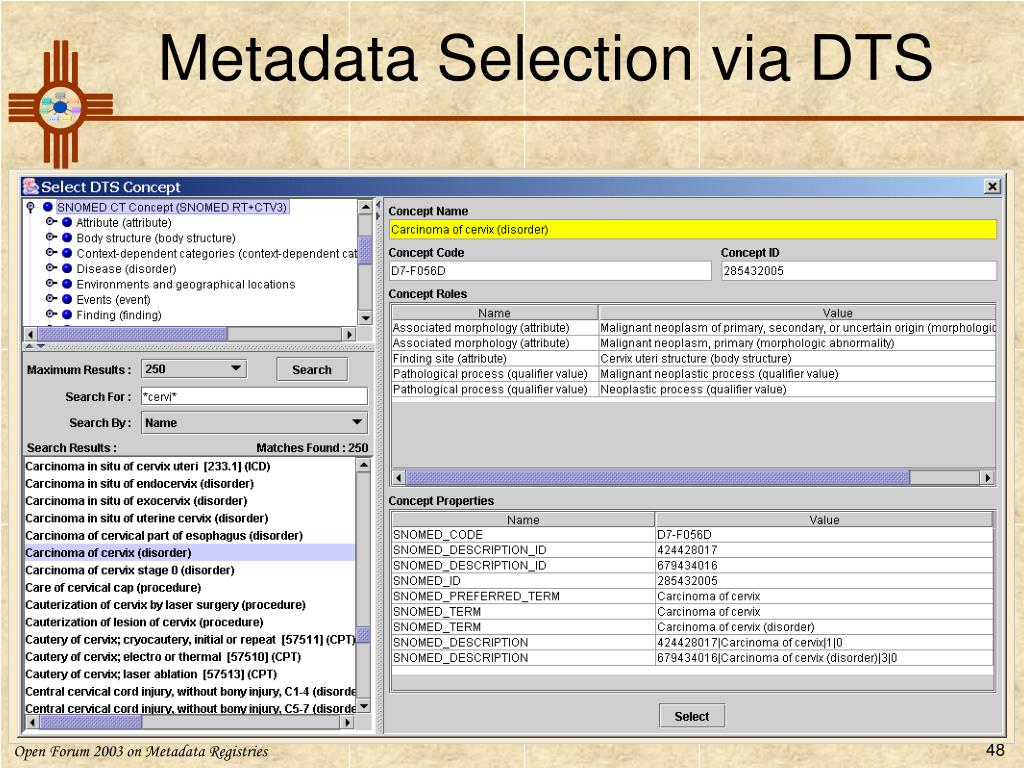 Metadata Selection via DTS