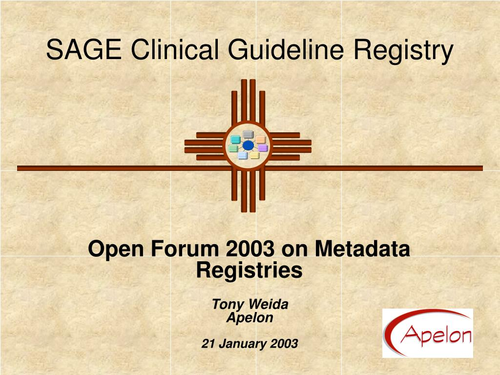 SAGE Clinical Guideline Registry