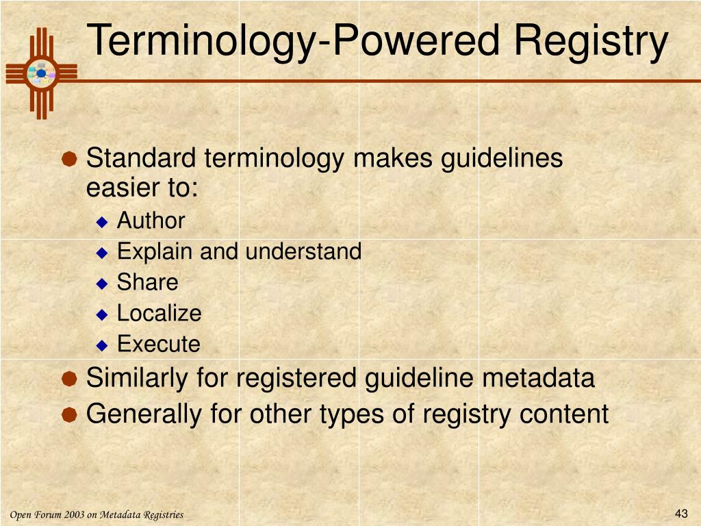 Terminology-Powered Registry