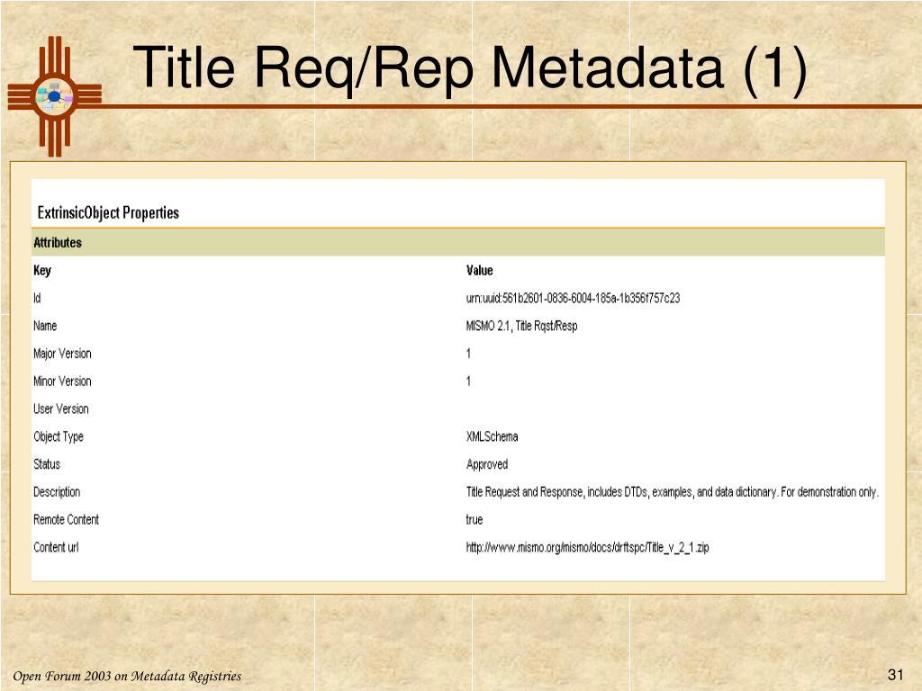 Title Req/Rep Metadata (1)
