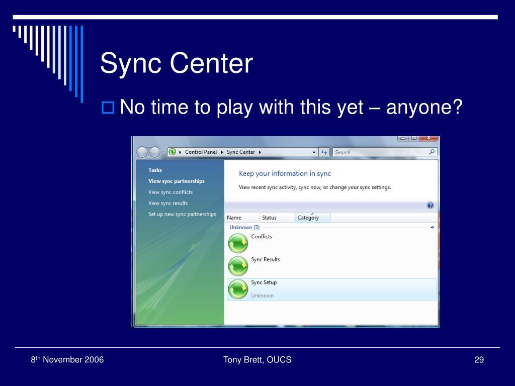 Sync Center