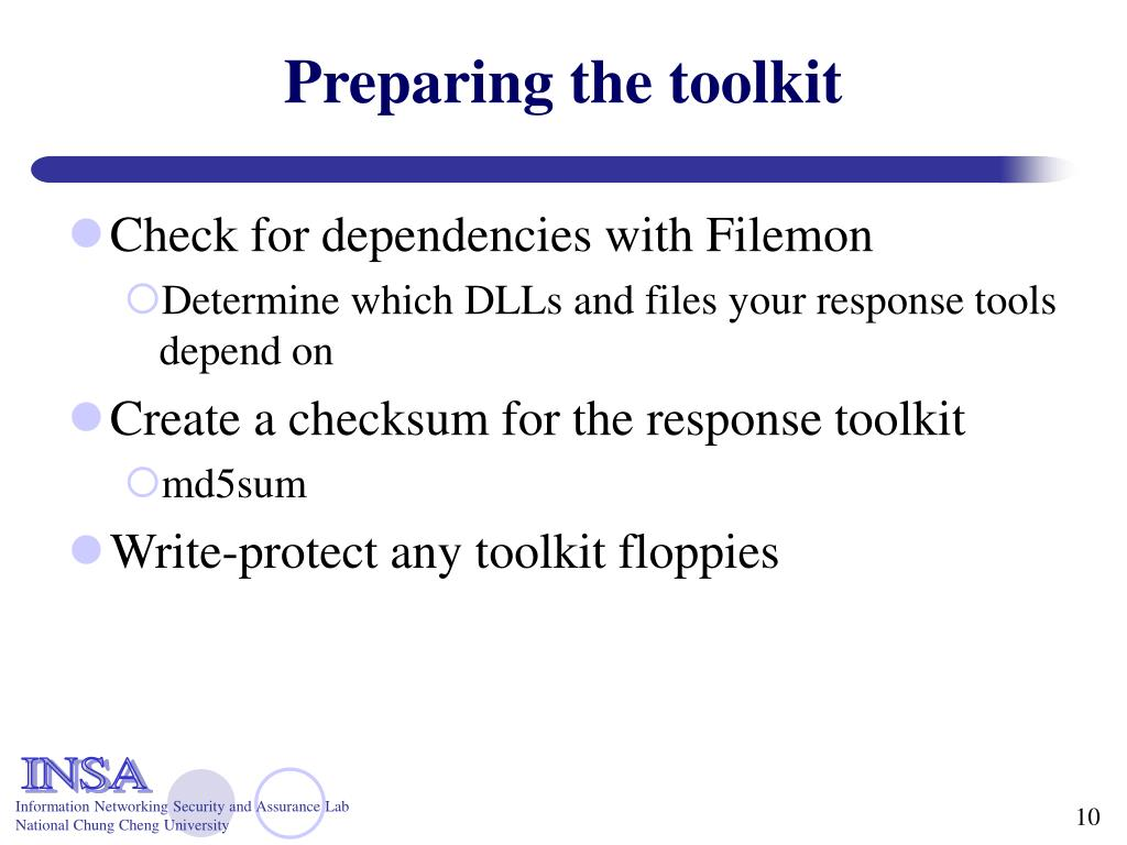 Preparing the toolkit