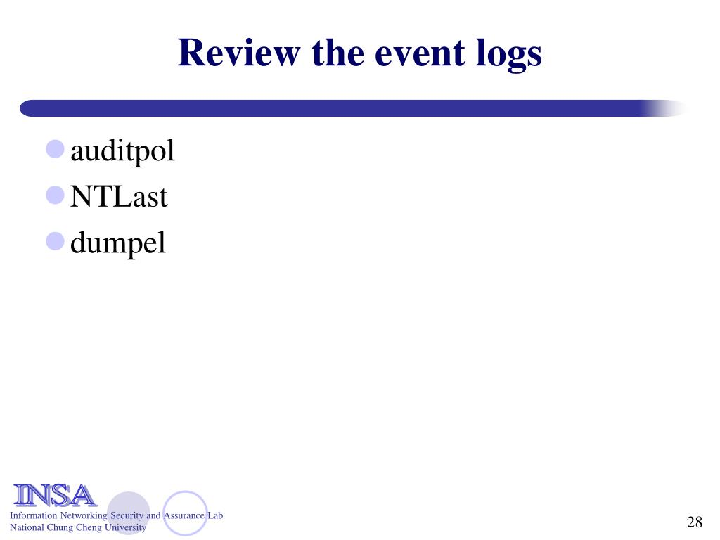Review the event logs